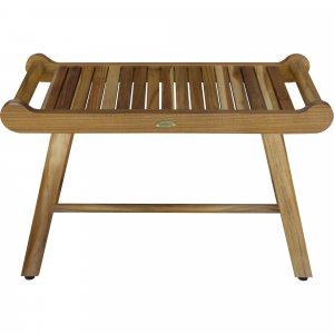 Rectangular Teak Shower Bench with Handles in Natural Finish