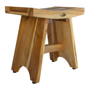 Compact Contemporary Teak Shower Stool in Natural Finish