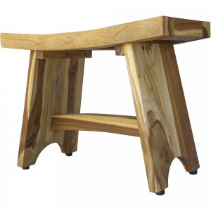 Contemporary Teak Outdoor Bench in Natural Finish