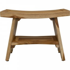 Contemporary Teak Shower Bench with Shelf in Natural Finish