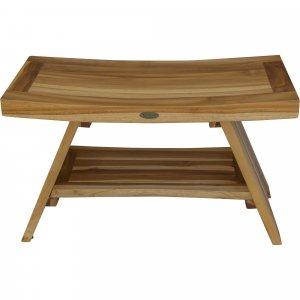 Rectangular Teak Shower Stool or Bench with Shelf in Natural Finish