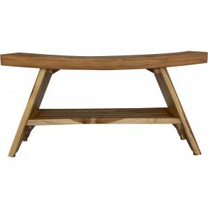 Compact Curvilinear Teak Shower Outdoor Bench with Shelf in Natural Finish