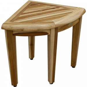 """16"""" Compact Teak Corner Shower Stool with Shelf in Natural Finish"""