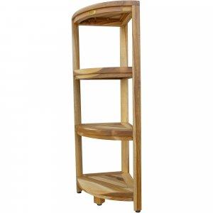 Teak Four Tier Corner Shelf in Natural Finish