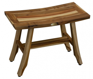 Contemporary Teak Shower Stool or Bench in Natural Finish