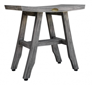 Compact Contemporary Teak Shower Stool in Gray Finish