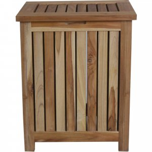 Compact Teak Laundy Storage with Removable Bag in Natural Finish