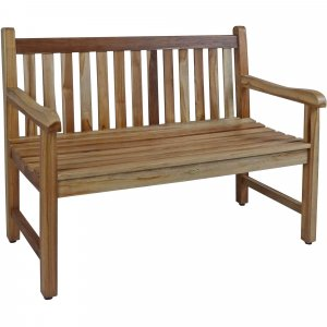 Compact Teak Outdoor Bench with Straight Design in Natural Finish