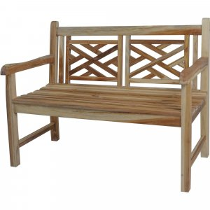 Compact Teak Outdoor Bench with Lattice Design in Natural Finish