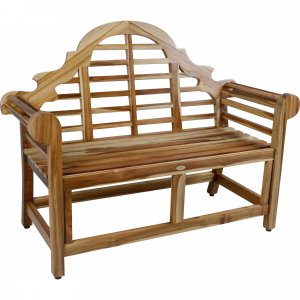 Compact Teak Outdoor Bench with Crown Design in Natural Finish