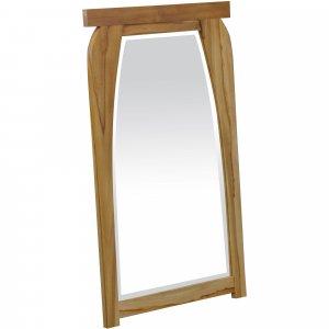 Modern Shape Teak Wall Mirror in Natural Finish
