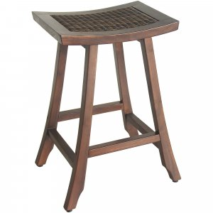 Compact Teak Shower / Outdoor Bench with Rattan in Brown Finish