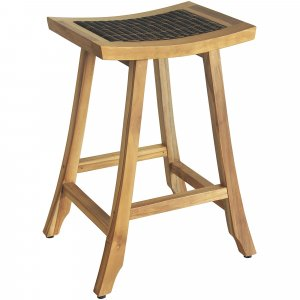 Compact Teak Counter Stool w/ Rattan in Natural Finish