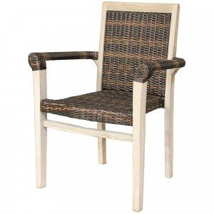 Compact Teak Arm Chair wRattan in Driftwood Finish