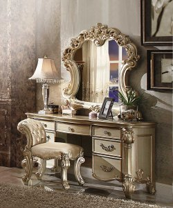 Elaborate Carved Gold Patina Finish Desk Vanity Dressing Table with 7 Drawers