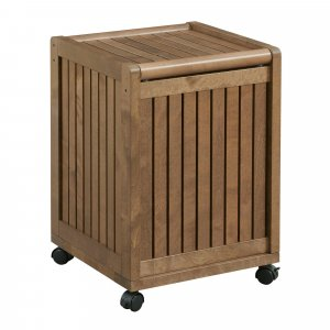 Chestnut Solid Wood Rolling Laundry Hamper with Lid