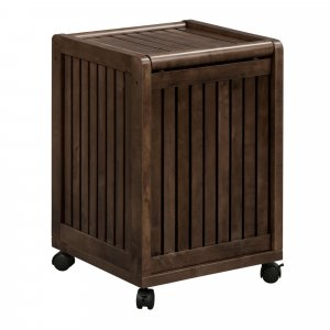 Espresso Solid Wood Rolling Laundry Hamper with Lid