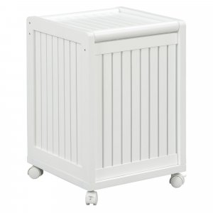 White Solid Wood Rolling Laundry Hamper with Lid