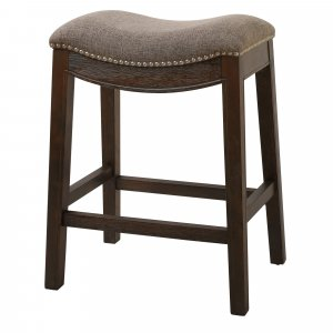 Counter Height Saddle Style Counter Stool with Taupe Fabric and Nail head Trim