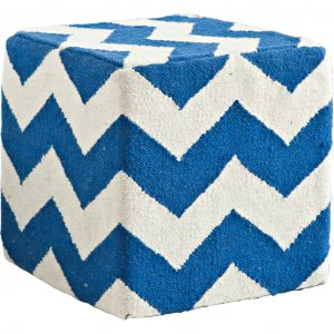 Blue and White Wool Sqaure Pouf with Zig Zag Pattern