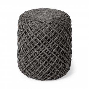 Dark Gray Wool Cylindrical Pouf with Diamond Pattern