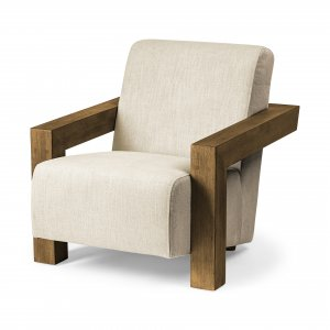 Cream Fabric Seat Accent Chair with Natural Wood Frame