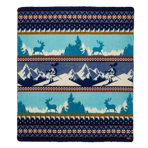 Queen Size Ultra Soft Blue Ski Mountain Handmade Woven Blanket
