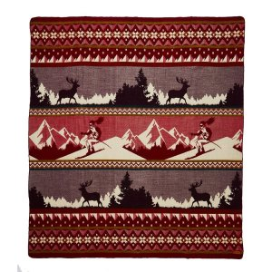 Queen Size Ultra Soft Red Ski Mountain Handmade Woven Blanket