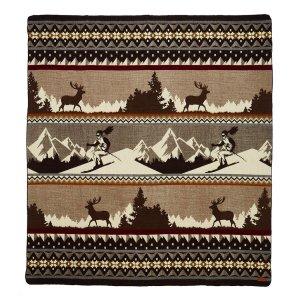Queen Size Ultra Soft Brown Ski Mountain Handmade Woven Blanket