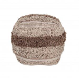 Boho Shaggy Khaki Textured Pouf