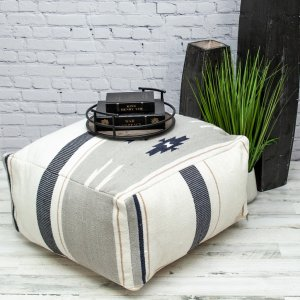 Aztec Gray Navy and Beige Pouf