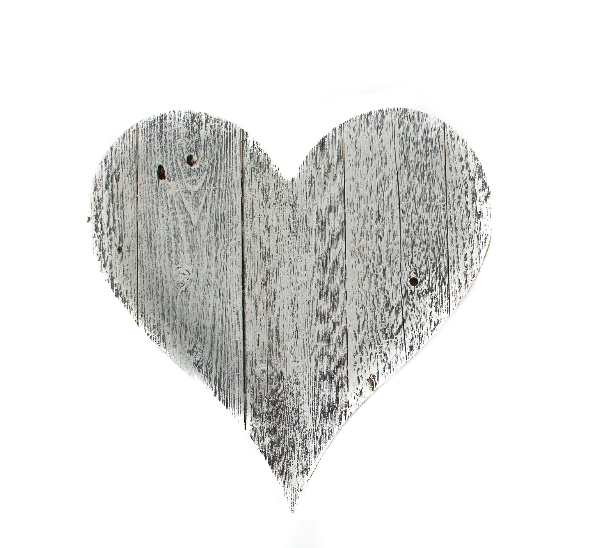 """12"""" Farmhouse White Wash Wooden Heart"""