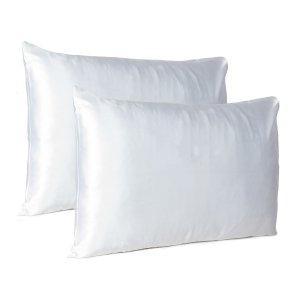 White Dreamy Set of 2 Silky Satin Standard Pillowcases