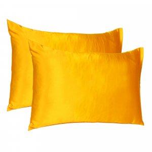 Goldenrod Dreamy Set of 2 Silky Satin Queen Pillowcases