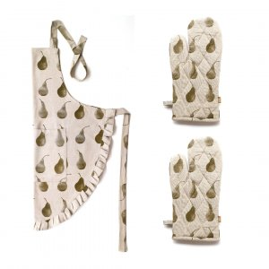 Set of Olive Green Pear Patterned Apron with Oven Gloves