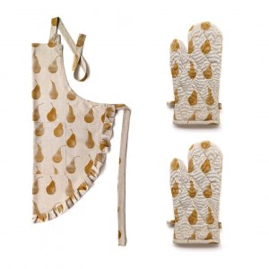 Set of Burnt Yellow Pear Patterend Apron with Oven Gloves