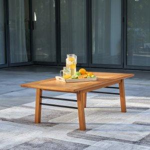 Natural Wood Metal Base Rectangular Coffee Table